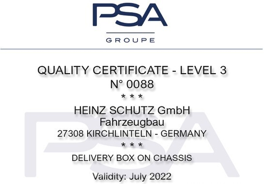 PSA Groupe QUALITY CERTIFICATE - LEVEL 3